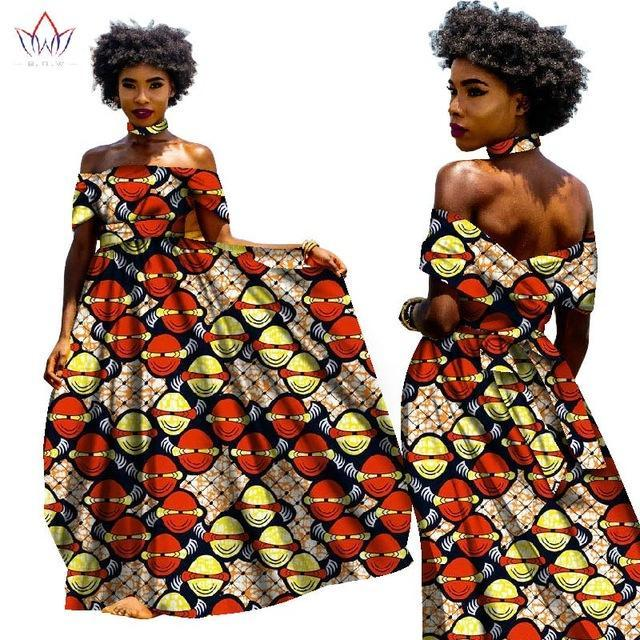 2017 BINTAREALWAX AFRICAN DRESSES FOR WOMEN BAZIN RICHE DRESSES LONG DRESS WITH NECKLACE TRADITIONAL AFRICAN CLOTHING WY1817