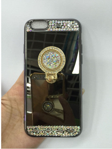 ... For iPhone 7 Case Luxury Women Diamond Glitter Mirror Cover With 360  Phone Ring Stand Soft 7165c1a6c