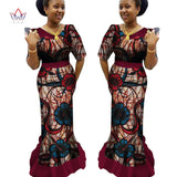 African Traditional Clothing Ankara Print Dashiki V-Neck Long African Dresses for Women Plus Size