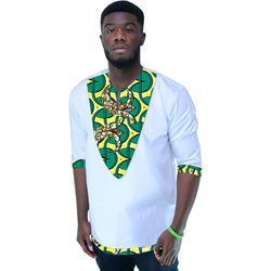 African men print tshirts private custom africa clothing white and prints patchwork half sleeve tops dashiki clothes