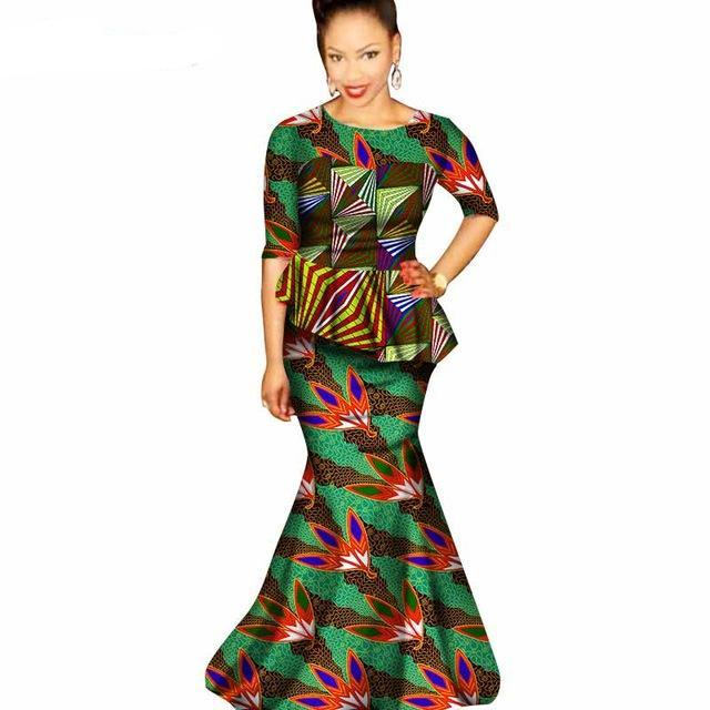 African ladies traditional african clothing dresses for women Fashion Design dashiki o-neck floor-length dress natural WY1554