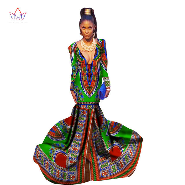 African Long Dress for Women,African Prow Gown, Africa Print Mermaid Dress, Africa Style - Owame
