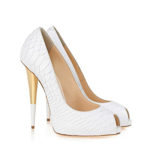 Women Elegant Pumps Pointed Toe STILETTO High Heels Women Shoes,White Pointed Toe Pumps Gold Zipper Women High Heels Shoes Spike Heels, Size 5-13,Size 2.5-10.5