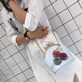 Handbag Women Fashion Casual Shoulder Stereo Flowers Bag,Artificial Leather Hasp Small Tote Ladies Purse Messenger Crossbody Bag-0WMBG08