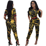 Vintage African Traditional Style Two Pieces Women Jumpsuits Half Sleeve Top Long Bodycon Pants Ladies Romper