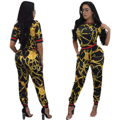 c218206ae46d Vintage African Traditional Style Two Pieces Women Jumpsuits Half Sleeve  Top Long Bodycon Pants Ladies Romper ...