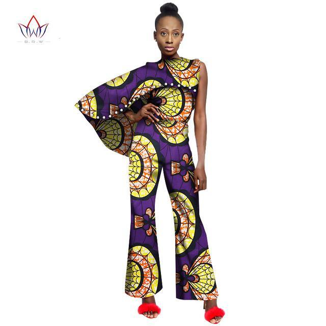 2017 African Women Jumpsuit For Women Fashion Women One Piece Outfits Jumpsuits with Pearl Bodycon Sexy Beading Pant Suit WY2006