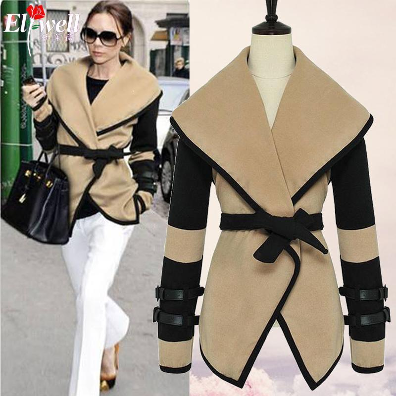 2017 spring Women Designer Fashion Celebrity Style Victoria Beckham Wool Coats Women Winter Long Trench