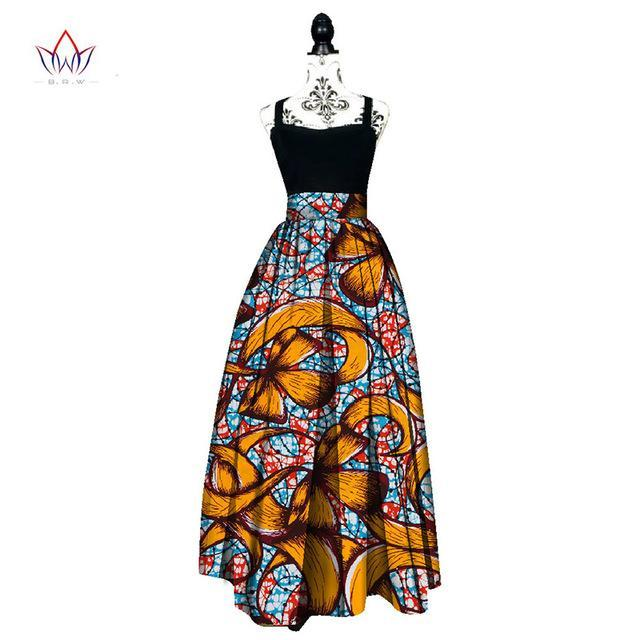 2017 Fashion Women African Print Long Skirt Ankara Dashiki High Waist A Line Maxi Long Umbrella Skirt Ladies Clothing BRW WY1744