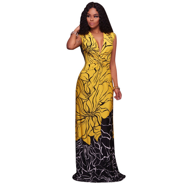 a94d974f789 ... Traditional African Clothing Women Yellow Black Patchwork Print Sexy Deep  V Neck Sleeveless Evening Party Summer