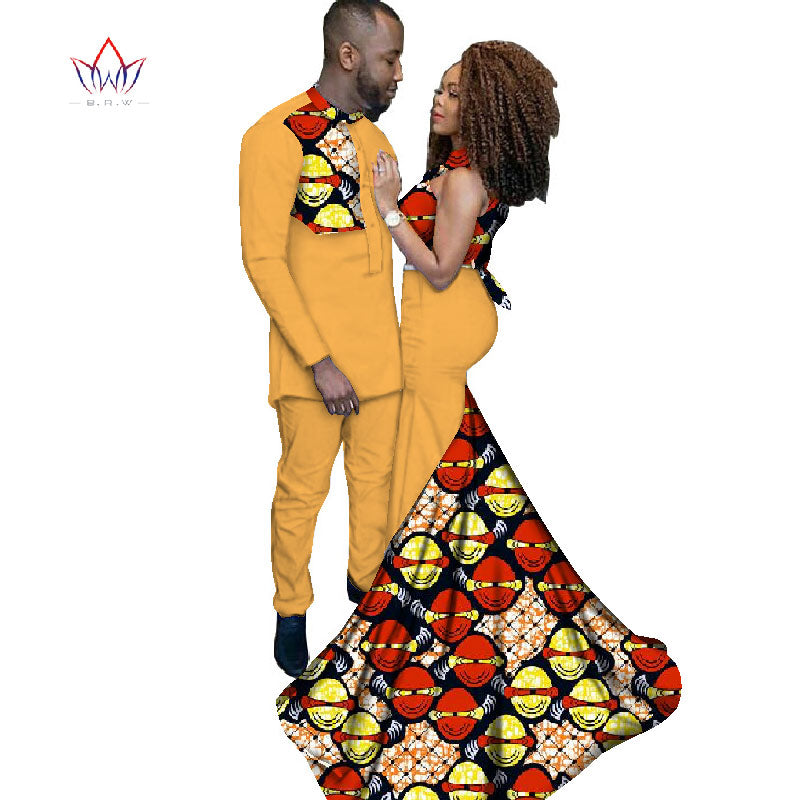 Elegant Fashion African Clothing prom Dresses for Women/ Prints Men's Suit for Couples Clothing