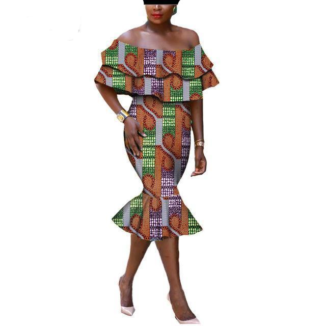 African clothing elegant off-shoulder strapless mid-calf fishtail women dress
