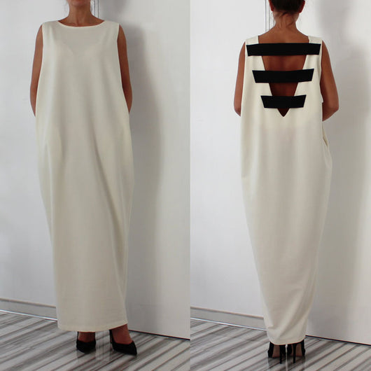 WOMEN casual long maxi dress black white solid Sleeveless O neck back stripes patchwork autumn dresses-0WM1805