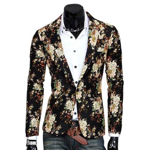 2017 Fashion Men Floral Printing Blazer Slim Party Single Breasted Suit Jacket Long Sleeve Coat H9