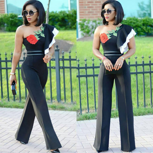 Floral Print Women Jumpsuit Ruffles Slash Neck Backless Romper Wide Leg Ladies Jumpsuits-890-0w