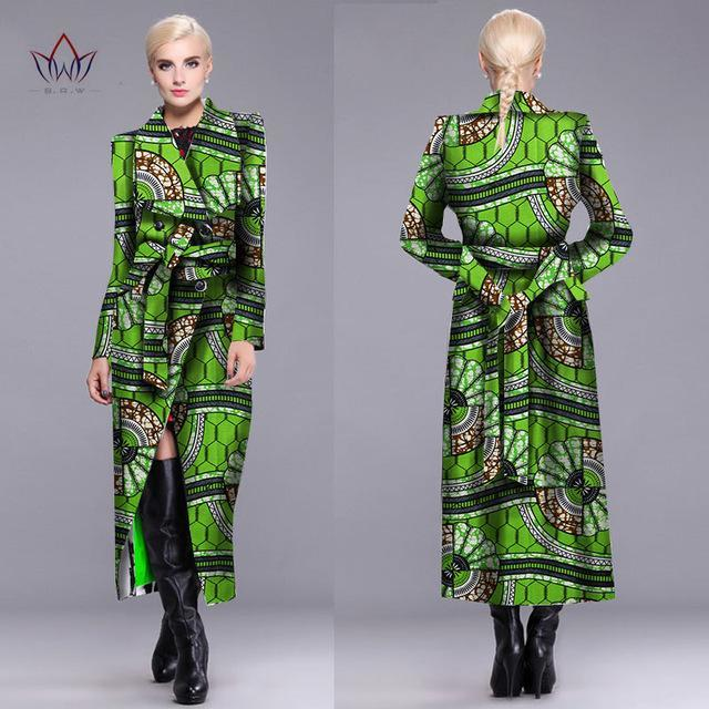 2017 outerwear New African trench coat for women plus size Dashiki Africa Traditional Clothing casual cotton full lining WY891