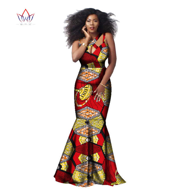 African Dashiki Beautiful Dresses for Women, Africa Style Printed Cotton Sleeveless Halter Dress