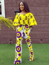 Yellow flare sleeve wide leg romper African print casual jumpsuit - Owame