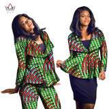 African Traditional cotton Print Top And Pants Set v-Neck Suit Sets