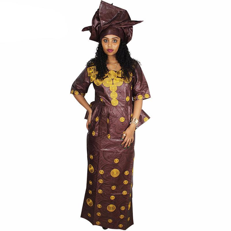 African Dashiki Skirt wrapper and Blouse,Brocade dress and Scarf for woman - Owame