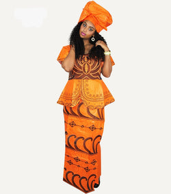 african dresses for woman bazin riche embroidery design short rapper with scarf-0w-908