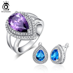 ORSA JEWELSNew Arrival Earring Ring Set Pear Cut 6 ct Cubic Zircon Ring with 3 ct Blue Zircon Earring for Lady OS55