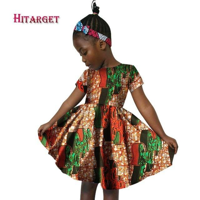 2017 New African Women Clothing kids dashiki Traditional cotton Dresses Clothing Matching Africa Print Children Dresses WYT60