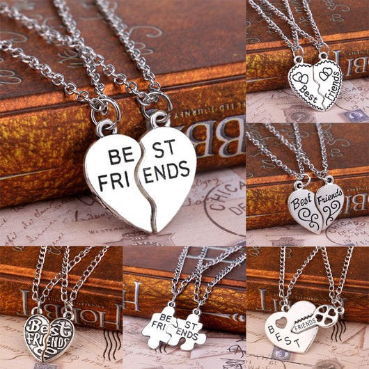 women's necklaces and pendants, 2 PCS Fashion Heart Puzzle Key Lock Best Friends BFF Necklace Friendship For Women Men Jewelry Pendant Necklaces Chain Collier