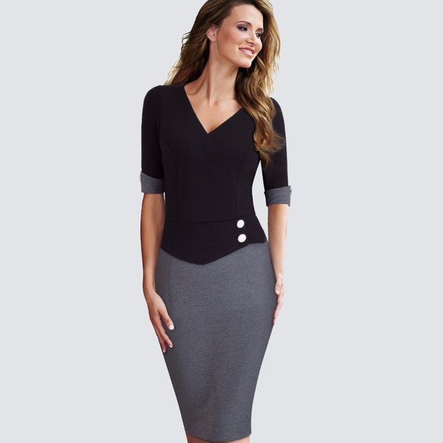 444408cb360ad4 Elegant Women Work Wearing Patchwork V Neck Sheath Pencil Office Dress  Casual Business Buttons Short Sleeve. Hover to zoom