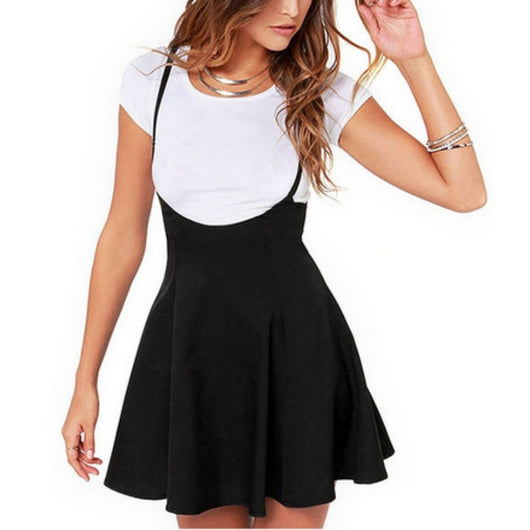 Women Black Skirt with Shoulder Straps Pleated Skirt Suspender Skirts High Waist Mini School Skirt-D1141