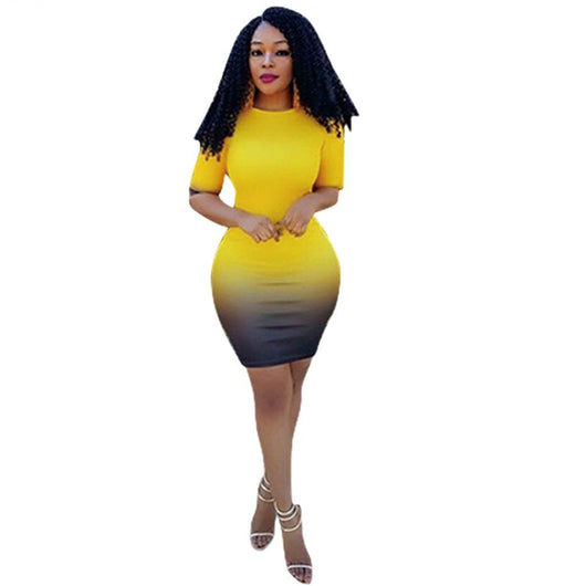 Women Bodycon Clothing Gradient Color Dresses,Half Sleeve Mini Dresses - Owame