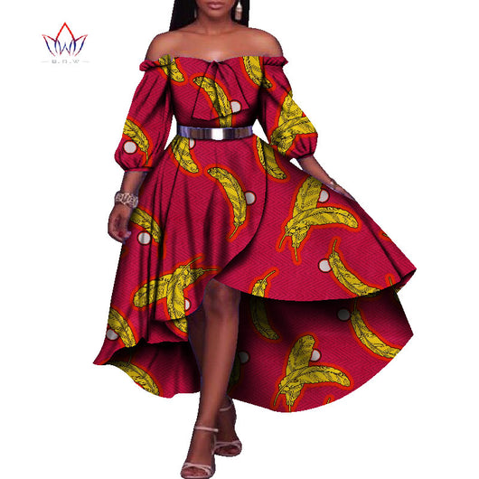 African Dresses for Women Half Lantern Sleeve Party Dresses Plus Size Bazin Riche 6XL Dashiki Print African Clothing