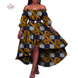 Elegant African Trench Dresses for Women Half Lantern Sleeve Party Dresses Plus Size Bazin Riche 6XL Dashiki Print African Clothing