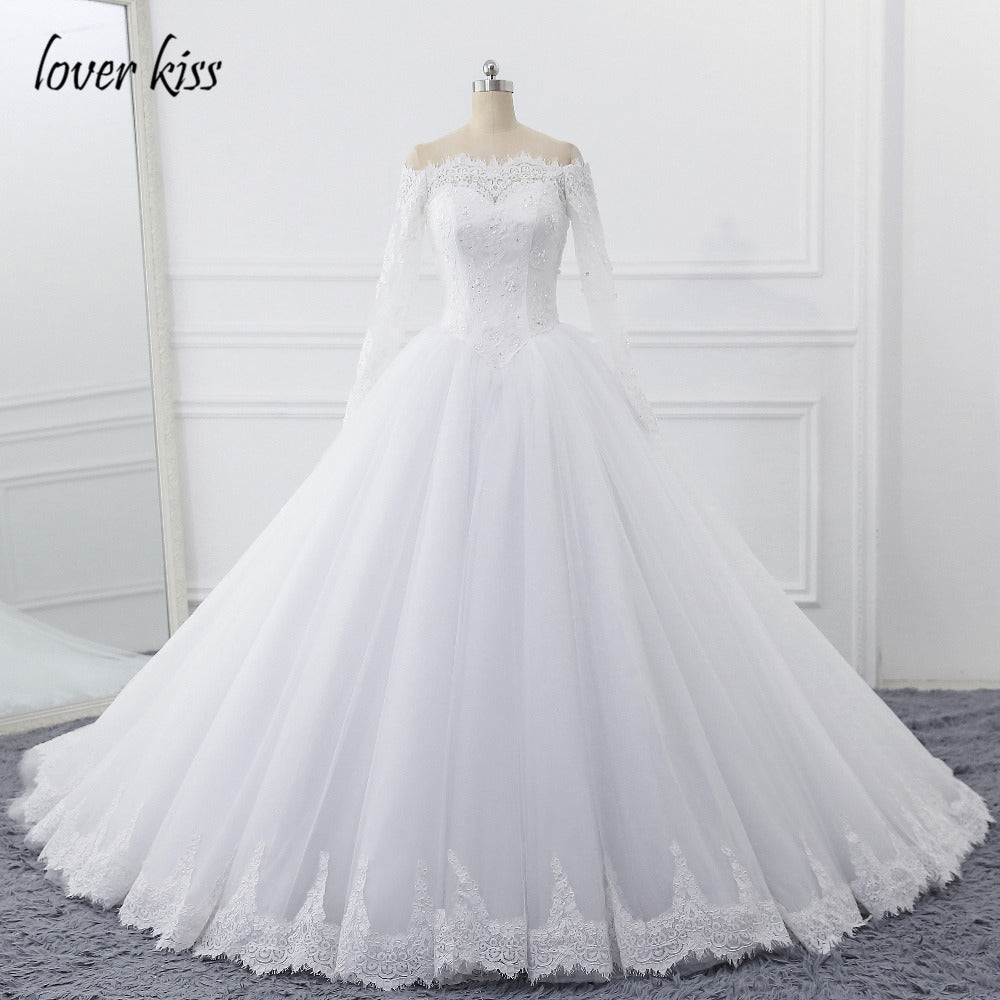 ba83ae53017f5 Hover to zoom · Lover Kiss Vestidos de Noiva Ball Gown Lace Wedding Dress  Long Sleeves Off Shoulder Tulle Puffy