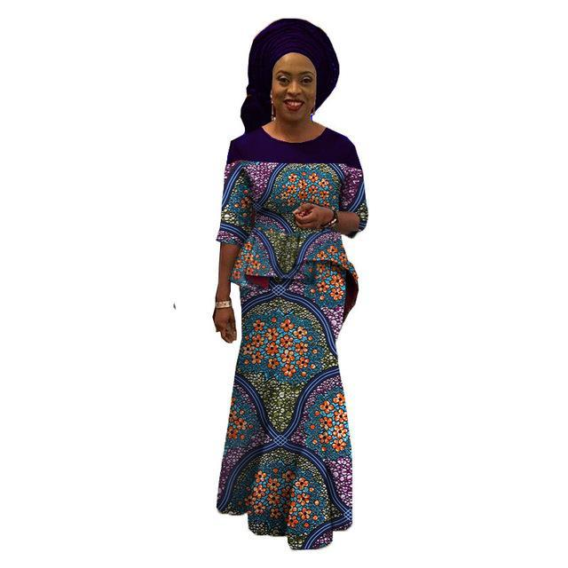 African style dress with headscarf/head-wrap for women top and skirt sets