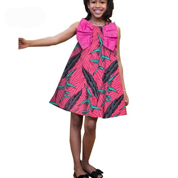 Baby Girl African dress for little princess casual sleeveless knee-length A-line girls dress big bow