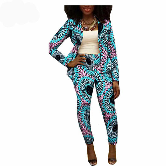 Private Custom Ankara Jumpsuit,African Print Long Sleeve Top Ankle length Pant - Owame