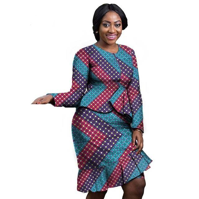 Elegant African traditional Long sleeve dress for women suit