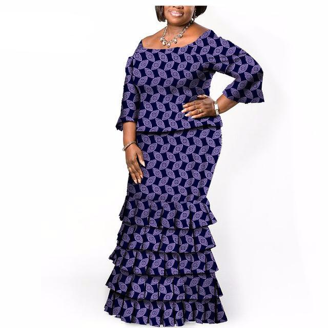 Two pieces Short sleeves top & Long Skirt african  Dresses, African Print - Owame