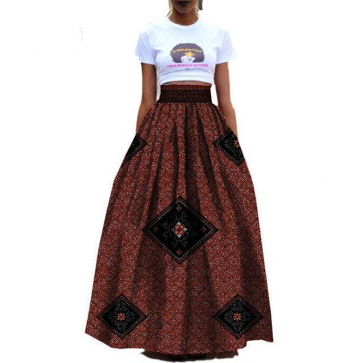 African Women custom High waist pleated ankle length cotton ball grown Skirt