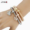 Image of LZHLQ Brand Fashion Butterfly Pendant Bracelet Trendy Multilayer Metal Colorful Crown Rhinestone Cuff Bracelet For Women Jewelry