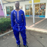 African Men clothing Ankara Pant Sets Long Sleeves Top and Pants - Owame