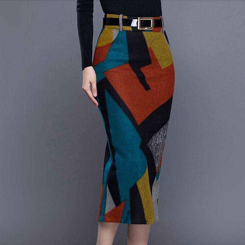 2017 High Waist Thick Woolen Pencil Skirt Women Autumn Winter Maxi Long Skirt Plus Size Office Skirt Faldas Mujer Saias Skirts