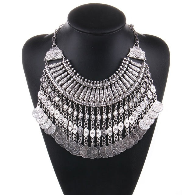 Women Collar Coin Necklace & Pendant Vintage Crystal Maxi Choker Statement Collier female Boho Big Fashion Women Jewellery Gifts