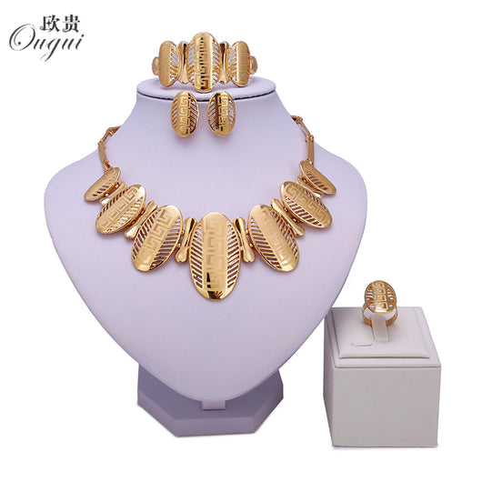 NEWS Saudi  Gold Color Nigerian Wedding Jewelry Set Bridal Dubai Dress Accessories Jewelry Sets African Beads Jewelry Set