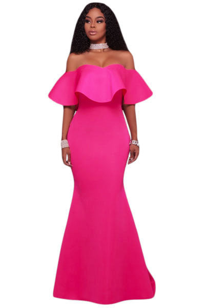 Mermaid Prom Dress, Sexy Light Pink Ruffle Strapless Off Shoulder Maxi Dresses - Owame
