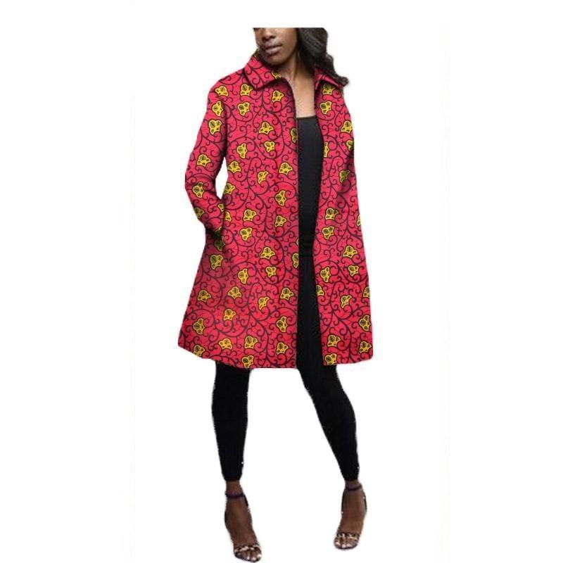 2017 Fall African women Ankara coat Full sleeves long casual coat with two pocket cotton plus size