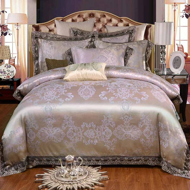 4Pcs Queen king size duvet cover, 100% cotton jacquard Bedding Set Black luxury bed sets Bed Sheet
