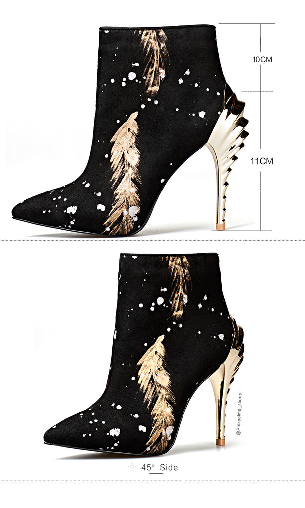 301b01203d9 Pink Palms newest women winter boots high heels ankle boots for women snow  boots fashion print pointed toe sexy classic boot