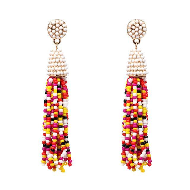 2017 New Long Vintage Fringing Beads Statement Earring Falcon Beads Handmade Tassel Earrings For Women Jewelry Wholesale